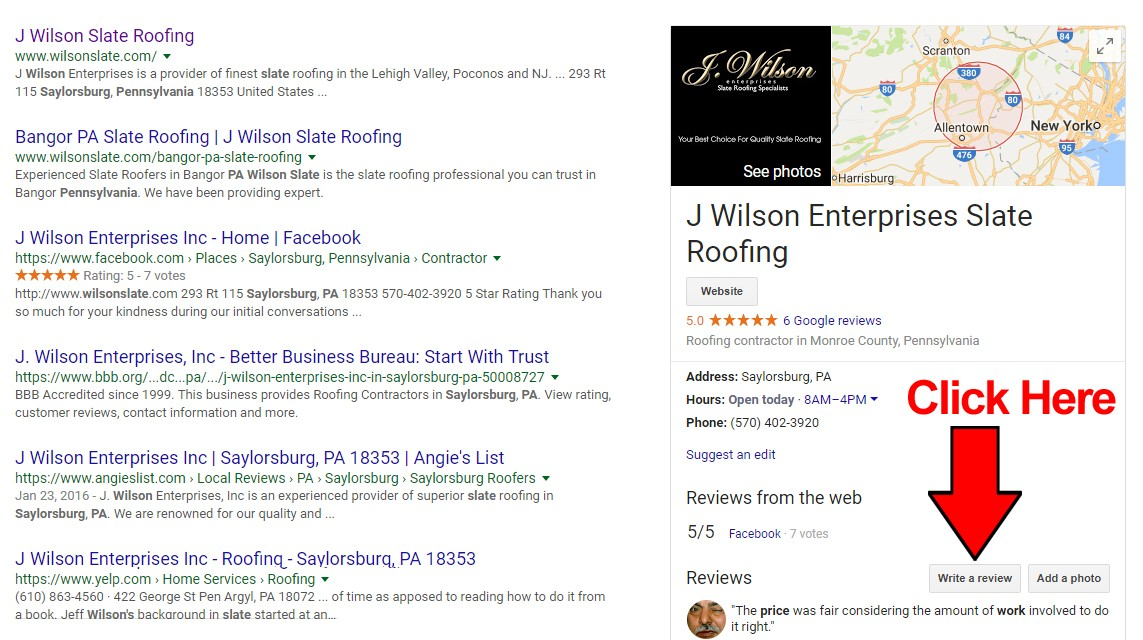 Submit a Review for Wilson Slate in Google | J Wilson Slate